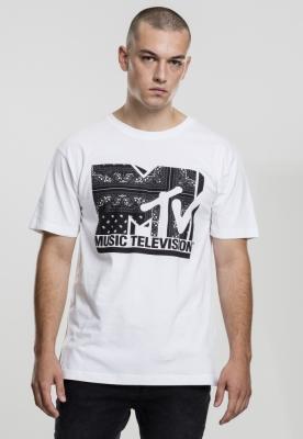 Tricou casual cu imprimeu MTV I am Music alb Mister Tee