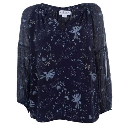 Tricou catifea albastru floral