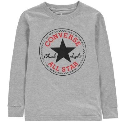 Tricou Converse Chuck cu maneca lunga pentru baietei inchis gri negru