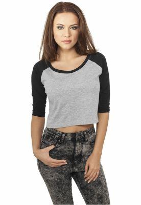Bluza scurta cu maneca lunga gri-negru Urban Classics