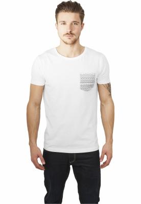 Tricou cu buzunar contrast alb-multicolor Urban Classics