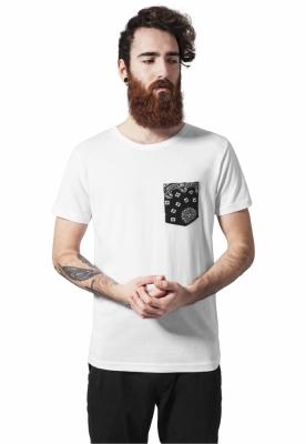 Tricou cu buzunar contrast alb-negru bandana Urban Classics