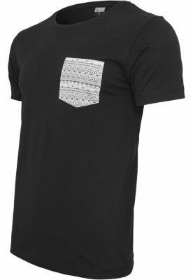 Tricou cu buzunar contrast negru-multicolor Urban Classics