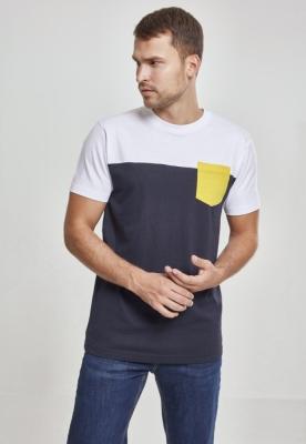 Tricou cu buzunar trei culori bleumarin-alb Urban Classics galben