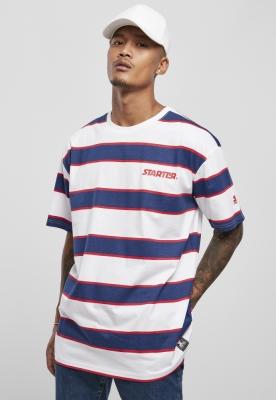 Tricou cu dungi Starter Logo alb-albastru