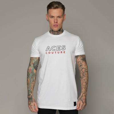 Tricou cu imprimeu Aces Couture Core pentru Barbati alb