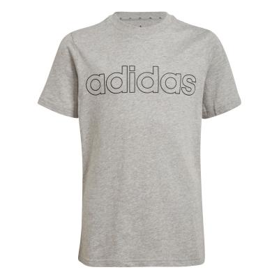 Tricou cu imprimeu adidas pentru copii gri albastru lin