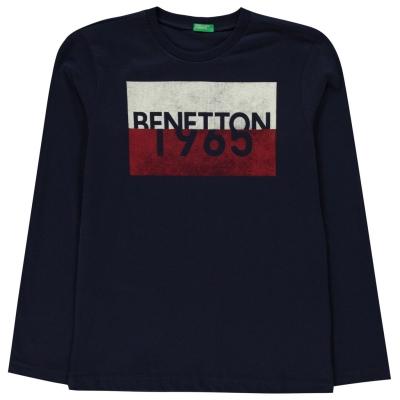 Tricou cu imprimeu Benetton cu Maneca Lunga Sport 13c bleumarin