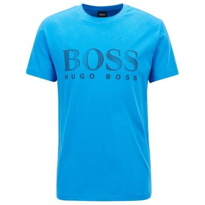 Tricou cu imprimeu Boss cu guler rotund Large albastru