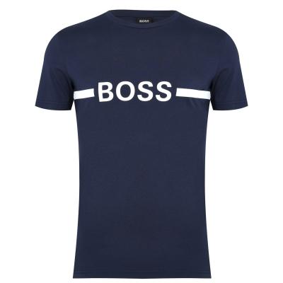 Tricou cu imprimeu Boss cu dungi bleumarin smu