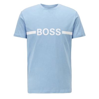 Tricou cu imprimeu Boss cu dungi deschis albastru