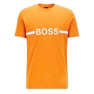 Tricou cu imprimeu Boss cu dungi portocaliu