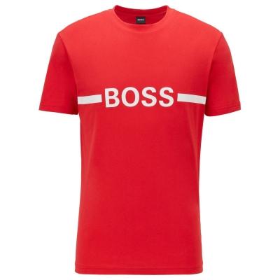 Tricou cu imprimeu Boss cu dungi rosu