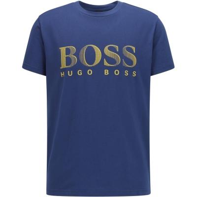 Tricou cu imprimeu Boss cu guler rotund Large bleumarin galben