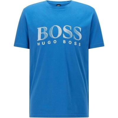 Tricou cu imprimeu Boss cu guler rotund Large open albastru