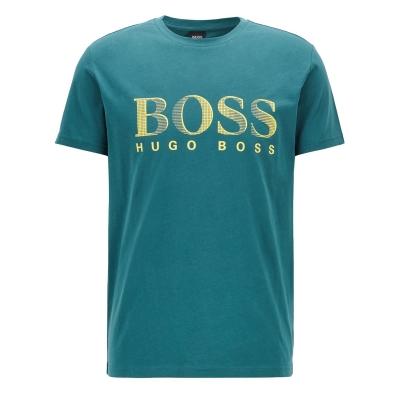 Tricou cu imprimeu Boss cu guler rotund Large verde