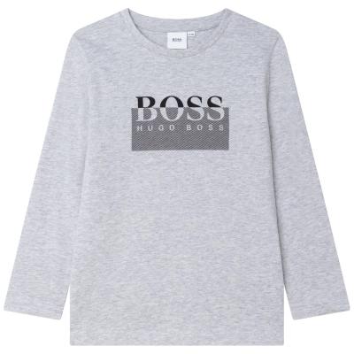 Tricou cu imprimeu Boss Hugo Boss LG gri a32