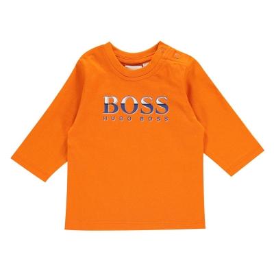 Tricou cu imprimeu Boss Hugo Boss Technical baiat pentru Bebelusi portocaliu