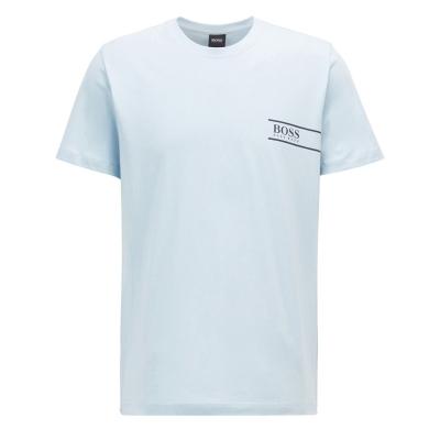 Tricou cu imprimeu Boss RN24 deschis albastru