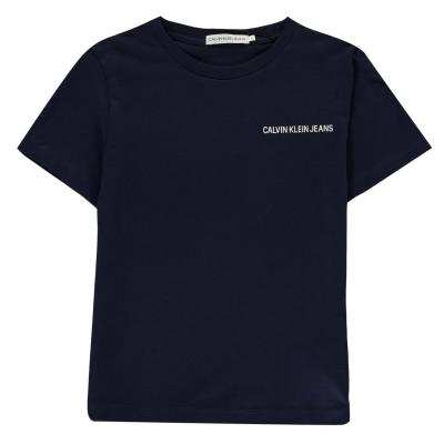 Tricou cu imprimeu Calvin Klein Jeans Chest pentru baietei albastru