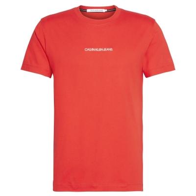 Tricou cu imprimeu Calvin Klein Jeans Institutional Chest intens rosu