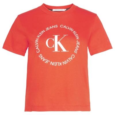 Tricou cu imprimeu Calvin Klein Jeans Round intens rosu