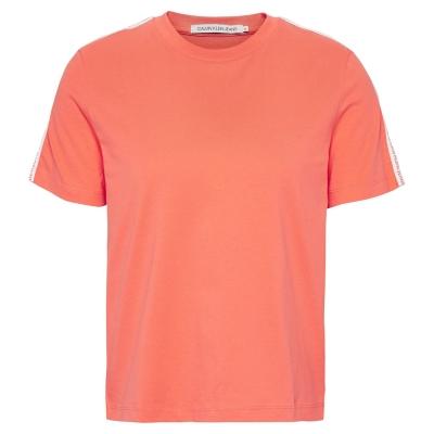 Tricou cu imprimeu Calvin Klein Jeans Tape hot coral