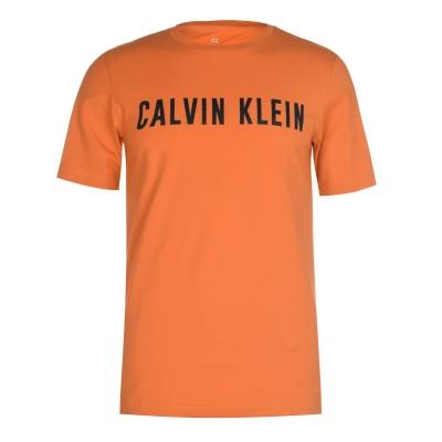 Tricou cu imprimeu Calvin Klein Performance cu Maneca Scurta portocaliu