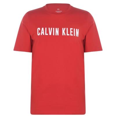Tricou cu imprimeu Calvin Klein Performance cu Maneca Scurta rosu alb
