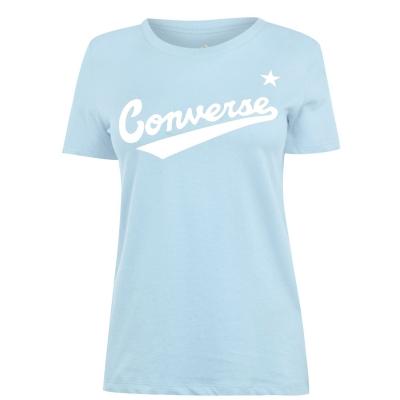 Tricou cu imprimeu Converse Nova pentru Femei albastru deschis haze