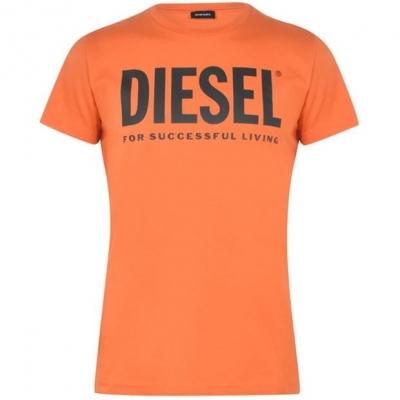 Tricou cu imprimeu Diesel Text portocaliu 38l