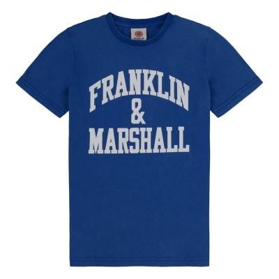 Tricou cu imprimeu Franklin and Marshall albastru