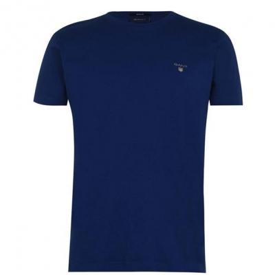 Tricou cu imprimeu Gant Crew crisp albastru