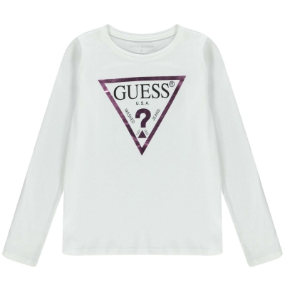 Tricou cu imprimeu Guess Sleeve alb twht