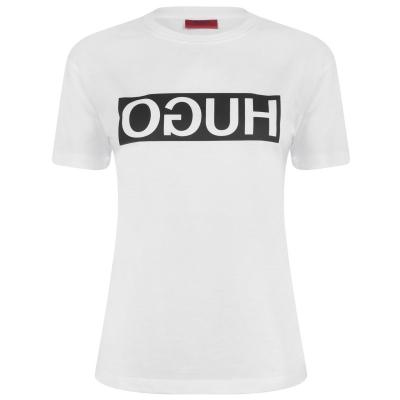 Tricou cu imprimeu HUGO Demali Reverse alb smu