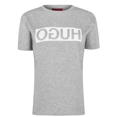 Tricou cu imprimeu HUGO Demali Reverse gri smu