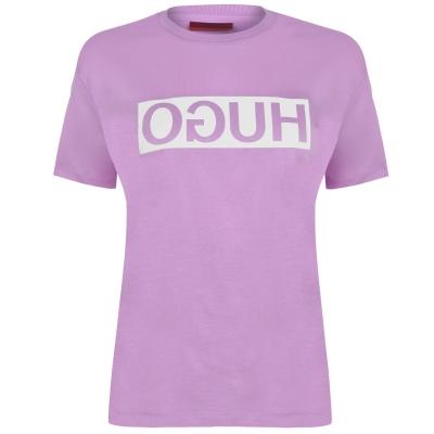 Tricou cu imprimeu HUGO Demali Reverse roz smu