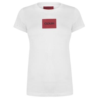 Tricou cu imprimeu HUGO Dennja alb