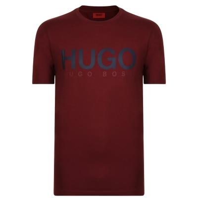 Tricou cu imprimeu HUGO Dolive inchis rosu