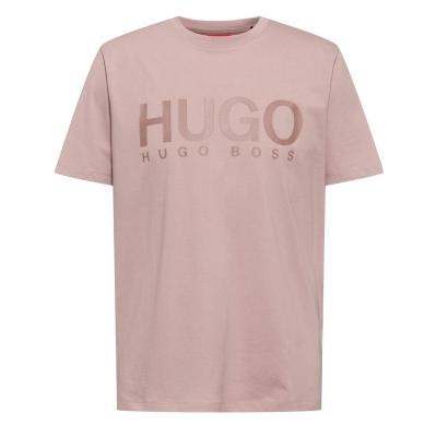 Tricou cu imprimeu HUGO Dolive pastel maro