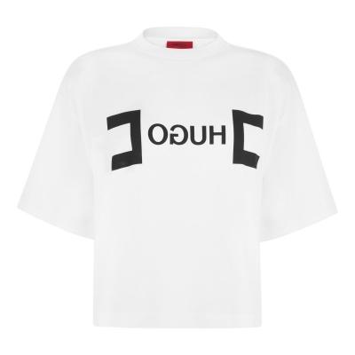 Tricou cu imprimeu HUGO Dufia alb