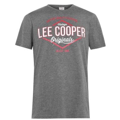 Tricou cu imprimeu Lee Cooper Cooper pentru Barbati gri carbune marl