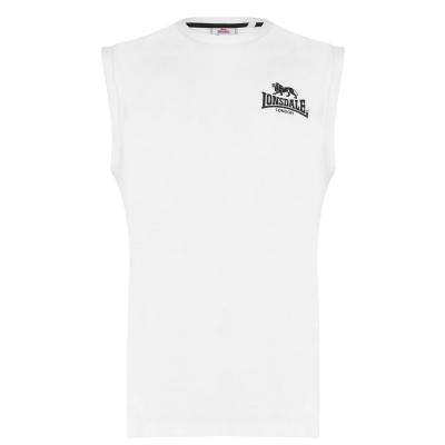 Tricou cu imprimeu Lonsdale fara maneci Small pentru Barbati alb negru