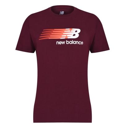 Tricou cu imprimeu New Balance Flying pentru Barbati rosu burgundy