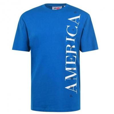 Tricou cu imprimeu Perry Ellis clasic olymp albastru