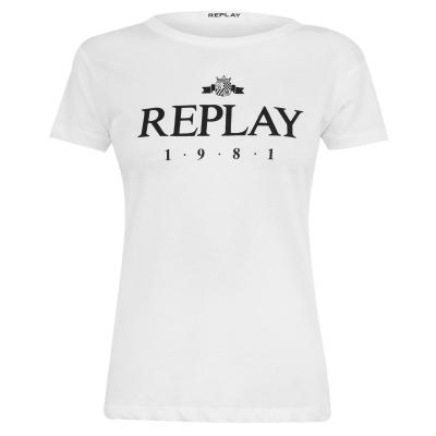 Tricou cu imprimeu Replay 1981 alb