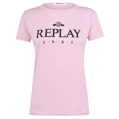 Tricou cu imprimeu Replay 1981 roz