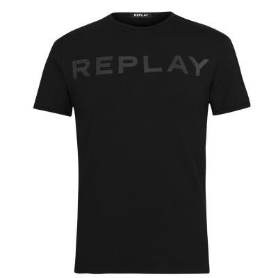 Tricou cu imprimeu Replay Tonal negru