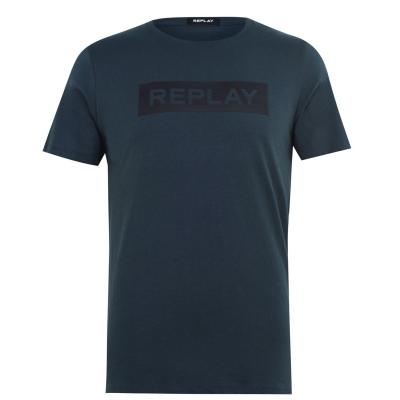 Tricou cu imprimeu Replay verde