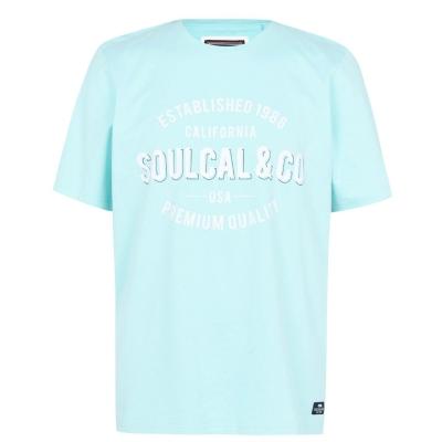 Tricou cu imprimeu SoulCal Large pentru Barbati albastru aqua